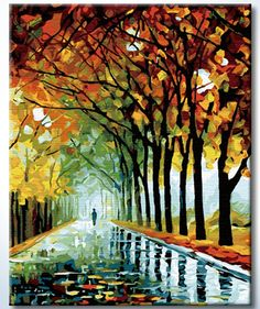 """DiyOilPaintings Raining Autumn Paint By Number Kits, 20""""x16"""" Paint By Numbers Kits"""