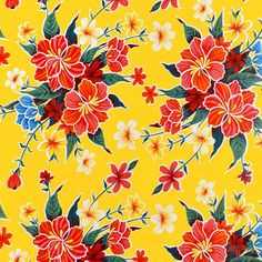 Yellow Hibiscus Oilcloth By Michaels® Yellow Hibiscus, Hibiscus Flowers, Cloth Table Covers, Headboard Cover, Hair And Nail Salon, Drawer And Shelf Liners, Bright Background, Retro Fabric, Michael Store