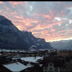 Evening sun at Meiringen Zwitserland