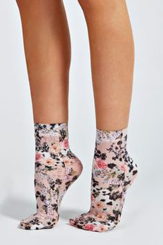 Gracey Mixed Floral Ankle Socks at Sheer Socks, Lace Socks, Floral Socks, Looks Rockabilly, Ankle High Socks, Nylons, Crazy Socks, Silly Socks, Fishnet Stockings