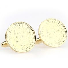 Mens Cufflinks Gold Round Metal Cufflinks For Business Men