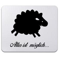 Mauspad Druck Schaf aus Naturkautschuk  black - Das Original von Mr. & Mrs. Panda.  Ein wunderschönes Mouse Pad der Marke Mr. & Mrs. Panda. Alle Motive werden liebevoll gestaltet und in unserer Manufaktur in Norddeutschland per Hand auf die Mouse Pads aufgebracht.    Über unser Motiv Schaf  Schafe gehören zu den ältesten Haustieren der Welt und sind für ihre flauschige Wolle bekannt. Schafe und ihre Lämmer sehen durch ihre Wolllöckchen unglaublich niedlich aus und es macht immer gute Laune…