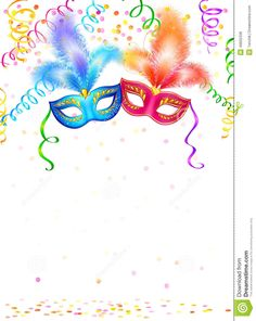 Buy Carnival Masks by art_of_sun on GraphicRiver. Bright carnival masks with confetti and serpentine on white background, vector party poster template Carnival Themed Party, Party Themes, Thankful Tree, Printable Frames, Masquerade Party, Ideas Para Fiestas, Party Poster, Vector Pattern, Mardi Gras