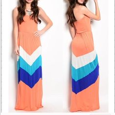 Strapless Chevron Long Maxi Dress