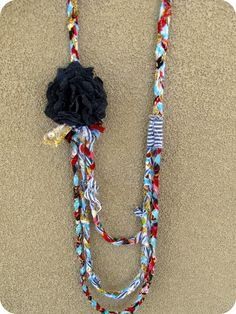 Fabric Scraps Necklace Tutorial and 9 crafts to make