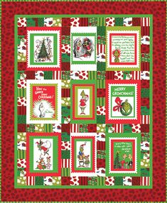 """Quilt for Sale, """"The Grinch who Stole Christmas"""" is a red and green Patchwork Christmas Quilt/Childs Quilt/Handmade Quilt/Dr. Seuss Quilt by MyCottonandThread on Etsy Fabric Panel Quilts, Fabric Panels, Quilting Fabric, Jaybird Quilts, Dr Seuss, Christmas Quilt Patterns, Christmas Fabric, Christmas Quilting Projects, Christmas Patchwork"""