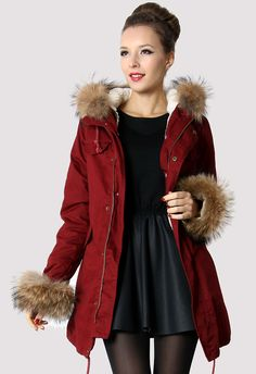 #Chicwish Hit The Road Detachable Fur Jacket in Wine(Limited Edition) - Outers - Retro, Indie and Unique Fashion