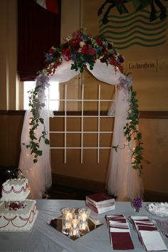 indoor wedding altars | Wedding Arch Ideas in front of the sheer ...