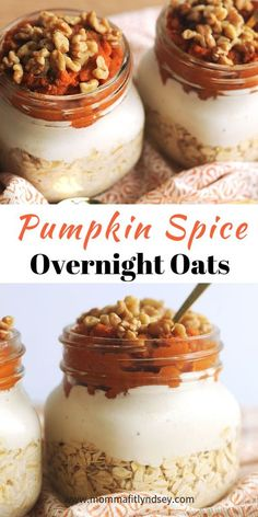 Healthy Snacks pumpkin spice overnight oats are an easy healthy breakfast for busy mornings - Simple Overnight Oats are the perfect easy and healthy morning breakfast! Learn how to create an easy breakfast for busy mornings. Oats Recipes, Gourmet Recipes, Recipies, Freezer Recipes, Freezer Cooking, Drink Recipes, Cooking Tips, Salad Recipes, Dinner Recipes