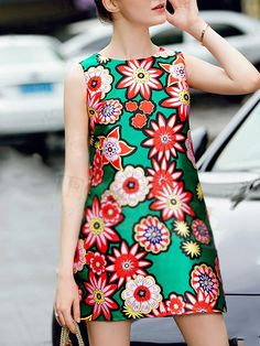 Green Round Neck Sleeveless Floral Print Dress 59.73