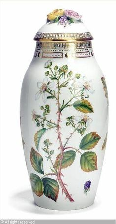 """Flora Danica"" covered vase"