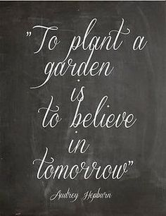 'To plant a garden is to believe in tomorrow' - Audrey Hepburn #Quotation #Garden