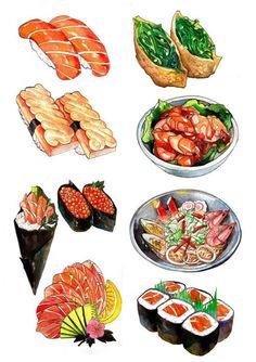 More food drawing, sushi drawing, food icons, food pictures, japanese food sushi Food Design, Cute Food, Yummy Food, Healthy Food, Food Doodles, Watercolor Food, Watercolor Wallpaper, Watercolor Drawing, Watercolor Illustration