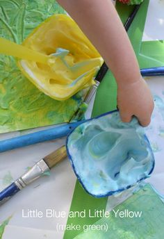 Little Blue and Little Yellow Shaving Cream Paint Mixing for Toddlers | Meri Cherry Blog
