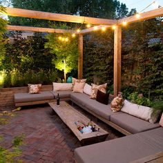 Sunken seating with pergola and lighting