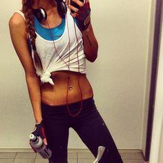 white tank, blue sports bra, black leggings, braid