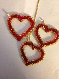 Valentine beaded hearts