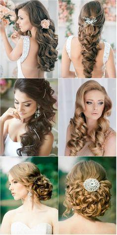 Beautiful wedding curls hair pretty elegant bride beauty style long wavy curls