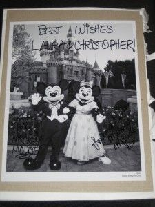 Did you know that if you send Mickey and Minnie Mouse an invitation to your wedding they'll send you back an autographed photo and a 'Just Married' button?!?! Ahhhhh    Disneyland:   Mickey & Minnie   The Walt Disney Company   500 South Buena Vista Street   Burbank, California 91521     Disney World:   The Magic Kingdom   C/O Mickey & Minnie Mouse   1675 N Buena Vista Drive   Lake Buena Vista, FL 32830