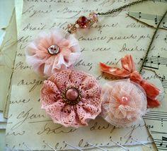 Pink Lemonade Floral Necklace, HollywoodHillbilly, Etsy