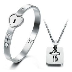 lock and key couples jewelry | Lock and Key Bracelet Pendant Necklace Set for Couples Personalized ...
