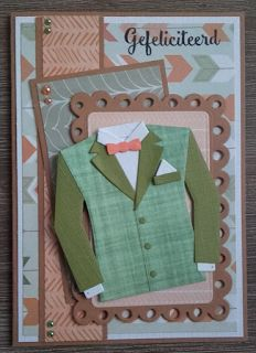 Kim van Kim's Crealife made this fun card with Collectables Men's Wardrobe (COL1434) and Creatables Gift Card (LR0420) from Marianne Design