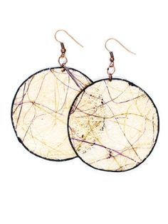 JousJous White Eco Friendly Fair Trade Handmade Dangling Fique Chip Earrings