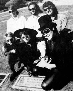 The Cramps signing their record contract with Enigma Records on Bela Lugosi's grave in 1989.