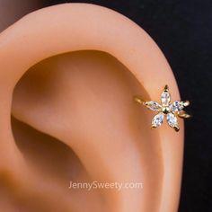 Sparkle Flower Zircon Helix Earring Cartilage Earring # Ear Piercing Sparkle F … - piercing Style Gold Hoop Earrings, Crystal Earrings, Statement Earrings, Diamond Earrings, Stud Earrings, Helix Earrings Hoop, Gold Hoops, Cute Cartilage Earrings, Cartilage Jewelry