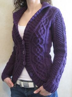 Blackberry Cabled Cardigan (KNITTING PATTERN :: http://www.deliciousknits.com/blackberry-cabled-cardigan/ )