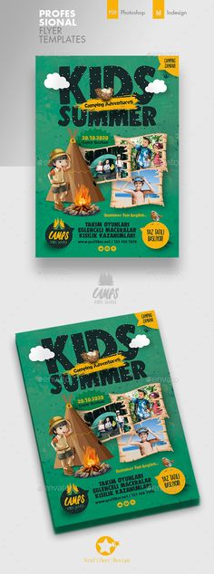 Buy Kids Summer Camp Flyer Templates by grafilker on GraphicRiver. Kids Summer Camp Flyer Templates Fully layered INDD Fully layered PSD 300 Dpi, CMYK IDML format open Indesign or . Business Flyer Templates, Flyer Design Templates, Summer Camps For Kids, Summer Kids, Text Fonts, Photo Link, Boys Camp, Photoshop, Camping