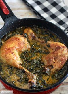 Pollo en salsa cremosa de parmesano y espinacas. Receta (Directo Al Paladar)