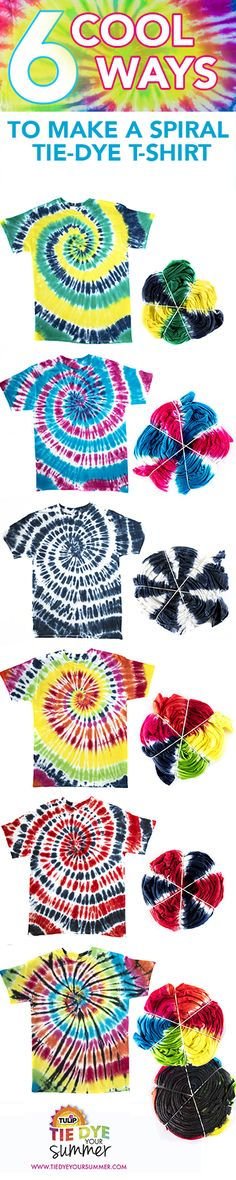 ~ TIE DYE GALORE ~ Prevous pinner writes: Get inspired to Tie Dye Your Summer with a spiral t-shirt. Create your own in all colors of the rainbow to play up your personal fave colors for your wardrobe. From rainbow to solid colored, there's lots of cool options for dyeing your tie dye t-shirt with Tulip One-Step Tie Dye!