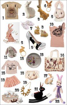 Easter bunnies: 1.Bunny T-shirt, 2. Rabbit Lamp, 3. Bunny Necklace, 4. Bunny Hair Accessory, 5. Bunny Bib, 6. Bunny Clock, 7. Bunny Liberty Shoes, 8. Bunny Salt & Pepper, 9. Bunny Shoes, 10. Bunny Top, 11. Bunny Jellycat, 12. Bunny Ring, 13. Plate The Storybook Rabbit, 14. Bunny Bag, 15. Bunny T-shirt, 16. Bunny Knickers, 17. Bullyland Bunny, 18. Bunny Skirt, 19. Bunny Necklace, 20. Peter Rabbit Tea Set, 21. Rocking Rabbit, 22. Eric Easter. Happy Easter, Easter Bunny, Rabbit Accessories, Bunny Bags, Jellycat, Peter Rabbit, Hair Accessory, Bunny Rabbit, Tea Set