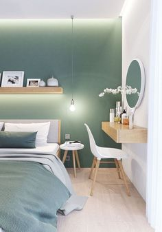 Bedroom Wall Colors, Bedroom Color Schemes, Bedroom Green, Room Ideas Bedroom, Home Decor Bedroom, Bedroom Mint, Decor Room, Bedroom Furniture, My New Room
