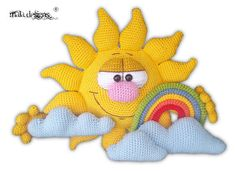 This listing is for an instant download pdf crochet pattern - not a finished figure or a printed pattern. The pattern contents sun, rainbow and three types of clouds. skills required: - crochet in rows - crochet in spiral rounds - increasing & decreasing - this pattern is written in