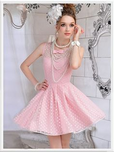 Morpheus Boutique  - Pink Lace Dots Sleeveless Celebirty Princess Pleated Dress, $59.99 (http://www.morpheusboutique.com/products/pink-lace-dots-sleeveless-celebirty-princess-pleated-dress.html)