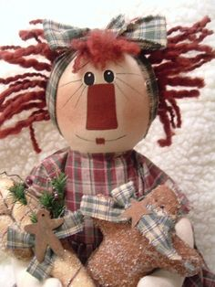 PRIMITIVE ORNAMENT COLLECTOR RAGGEDY ANN  by yellowsweetpotato, $42.99