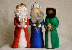 Nativity Set Waldorf inspired needle felted Christmas dolls:The Wise men. $126.00, via Etsy.
