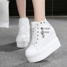 Lace Up Ankle Boots, Lace Up Shoes, Cute Shoes, Wedge Boots, Wedge Heels, High Heel Sneakers, High Shoes, Chunky Sneakers, Shoes Heels