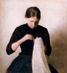 Vilhelm Hammershøi - Young Girl Sewing (Anna Hammershøi) 1887 Oil on canvas