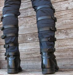 Steampunk Black Leather Shin Guards or Gaiters with Nickle Hardware for Men or Women