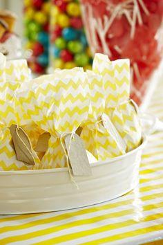 Yellow Chevron Stripe Lolly Bags