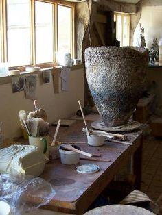 Sarah Purvey studio Clay Studio, Ceramic Studio, Ceramic Pottery, Pottery Art, The Potter's Hand, Ceramic Workshop, Ceramic Techniques, The Potter's Wheel, Pottery Studio