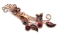 $156.0 Amaro Jewelry Studio 'Winter Sunset' Collection 24K Rose Gold Plated Flower Bouquet, Butterfly and Bow Brooch Ornate with Pink, Fuchsia and Purple Swarovski CrystalsFrom Amaro $156.0
