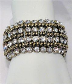 $30 Antique Gold 4 Row Diamond Stretch Bracelet