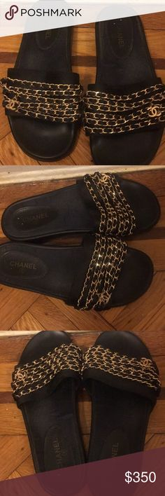 Authentic Chanel Slippers Size 8 Black with gold chain on the top with CC attached AUTHENTIC CHANEL Good condition Cute for dressing up  Price is negotiable , talk nice! CHANEL Shoes Slippers