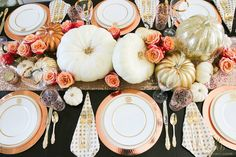 Who says autumn has to be orange?! Rose gold table setting. White pumpkins, gold, peach roses. Fall Decor Tips Home Tour - Randi Garrett Design