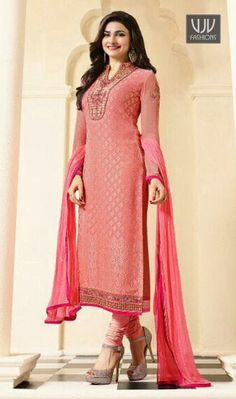 Prachi Desai Pink Color Georgette Casual Suit True beauty can come out from your dressing design with this pink net anarkali salwar kameez. The gorgeous embroidered and patch border work across the attire is awe inspiring. Comes with matching bottom and dupatta