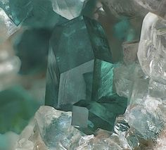 Dioptase (teal), Calcite (clear)  ▶ Go to the site & click on the name for more info.!